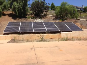 solar battery storage San Diego 24 - 320watt SolarWorld panels feeding 8,000watt Outback off grid solar system.